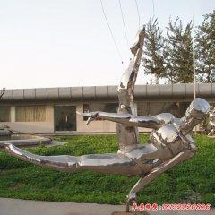 不銹鋼鞍馬運動人物雕塑