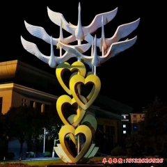 愛心大雁不銹鋼雕塑