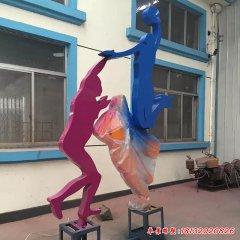 不銹鋼打籃球人物雕塑