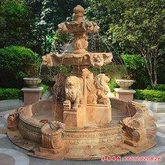 公园狮子喷泉石雕