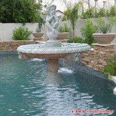 石雕小区天使喷泉雕塑