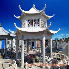 景区双层凉亭石雕