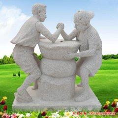 现代公园儿童人物石