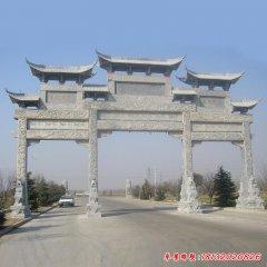 古建中式村口牌楼石雕