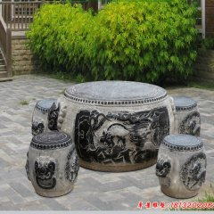 庭院麒麟浮雕仿古石桌凳