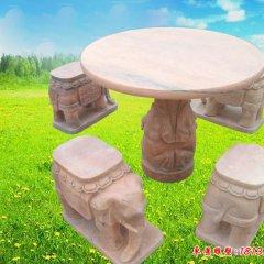晚霞紅大象造型別墅石桌凳