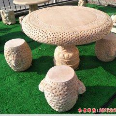 中式庭院晚霞紅獸紋石桌凳