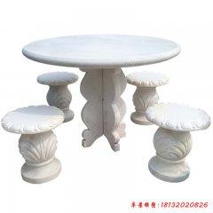 別墅歐式漢白玉圓桌凳