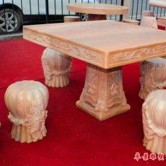 別墅歐式晚霞紅桌凳石雕