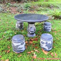 庭院公園鳳凰牡丹圓形石桌凳