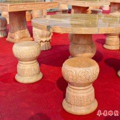 別墅歐式花紋圓形石桌石凳