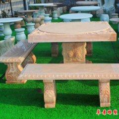 歐式別墅晚霞紅桌凳石雕