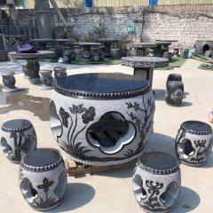 庭院中式梅蘭竹菊浮雕石桌凳