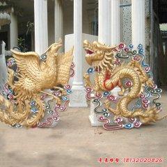 玻璃鋼仿銅彩繪龍鳳浮雕
