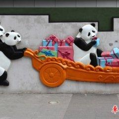 幼兒園壁畫玻璃鋼卡通熊貓浮雕
