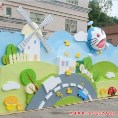 幼兒園玻璃鋼卡通哆啦A夢浮雕