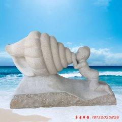 海邊景觀吹海螺的兒童石雕