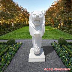 公園漢白玉魚尾獅石雕