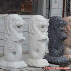 別墅漢白玉魚尾獅石雕