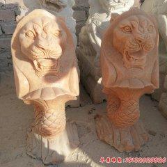 公園晚霞紅魚尾獅石雕