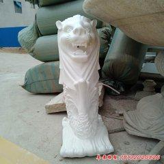 小區漢白玉魚尾獅石雕
