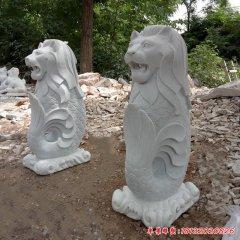 公園漢白玉魚尾獅雕塑