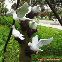 玻璃钢仿真白色鸽子雕塑