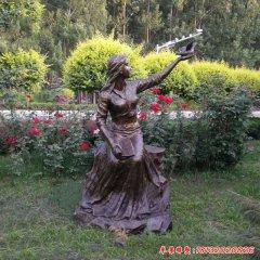 校园和平鸽女孩铜雕