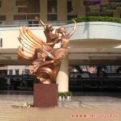 校园腾飞学生铜雕