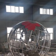 校园不锈钢镂空地球雕塑