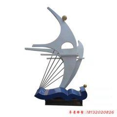 企業不銹鋼抽象帆船雕塑