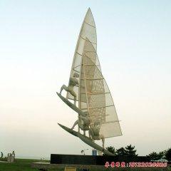 不銹鋼帆船比賽人物雕塑