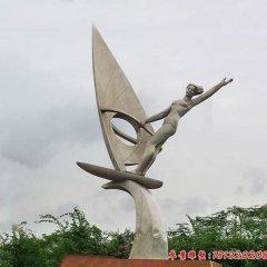 不銹鋼帆船人物雕塑
